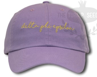Delta Phi Epsilon Handwriting Script Sorority Baseball Cap - Custom Color Hat and Embroidery