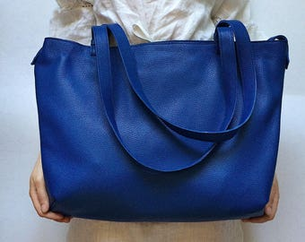 Blue leather tote | Etsy