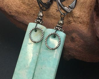 Amazonite earrings, Long gemstone earrings, stone slice earrings, stone slab earrings, oxidized silver earrings under 75