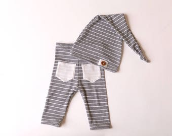 "Newborn Boy Pants and Hat Set - The ""Alex""  grey and white newborn outfit, baby boy, stripes, newborn photo prop, newborn hat"