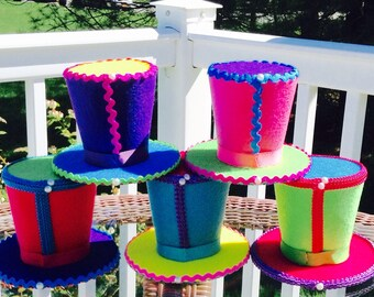 "Alice in Wonderland Decorations - 5 Medium Mad Hatter Tea Party Felt Hats - No Accents - Birthday, Baby Shower, Bridal Shower - 4.5"" Tall"