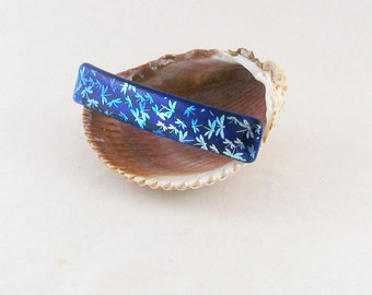 """Silver and blue dichroic dragonflies on ROYAL blue fused glass 4"""" barrette - genuine french barrette (4929)"""