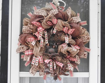 Western Boot Chime Burlap Deco Mesh Wreath