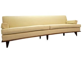 Mid-Century Danish Modern Concave-Front White Sofa on Wood Base