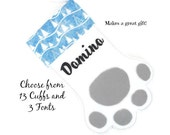 Christmas Pet Paw Stocking Personalized in White with Cuff Choices