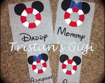 Family Matching Disney Cruise Shirts GRAY SHORT Sleeve EMBROIDERED Free Personalization!!