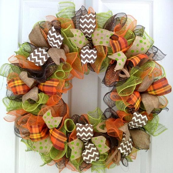 Fall Deco Mesh Wreath Fall Door Wreath Fall Wreaths For