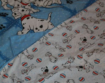 Disney's 101 Dalmatians  Double Sided Vintage Single Bed Duvet with Matching Pillowcase. Material for Upcycling