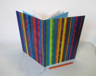 A4 recycled white paper journal multi coloured stripes vertical