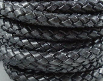 Leather Braided Cord, 9MM German Black Bolo Leather, Excellent Quality, Very Flexible, All Leather, One Yard
