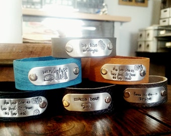 Handstamped leather cuff-women's leather bracelet- graduation-wedding-friend-sweet 16-travel gift-inspirational-mothers cuff