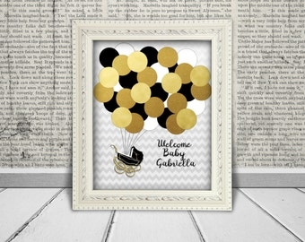 Baby Shower Guest Book Alternative Printable Digital File for Guests to Sign the Balloons, Baby Carriage -  Black, White & Gold