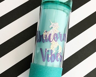 Unicorn Vibes Mint Tumbler; Unicorn Tumbler; Glitter Tumbler; Unicorn Water Bottle; Unicorn; Unicorn Gift