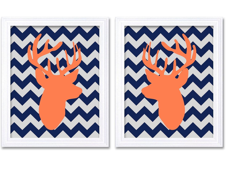 Deer Nursery Art Deer Head Prints Set of 2 Navy Blue Grey Orange Peach Coral Chevron Baby Wall Decor