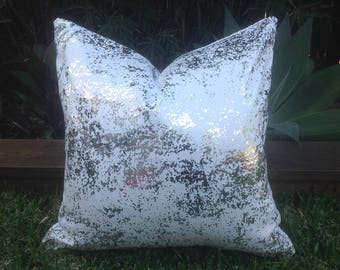 Silver Outdoor Cushions. Metalic Outdoor Pillow Cover Only, Luxe Cushions, Glamour Outdoor Cushions,  Pillows