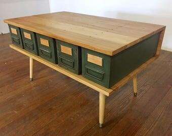 Reclaimed Wood Metal Drawer Coffee Table