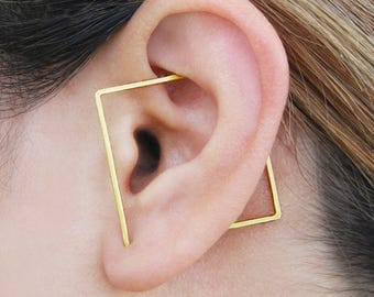 Square Ear Cuff, Gold Ear Cuff, Square Hoop Earring, Geometric Earrings, Gold Earrings, Ear Cuff, Climber Earring, Gold Hoops, Minimal Hoop