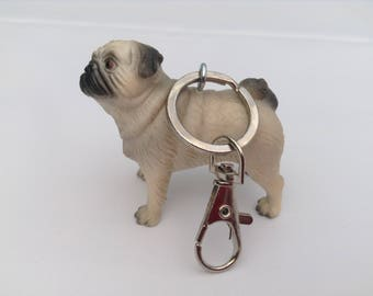 Pug keychain keyring bag charm