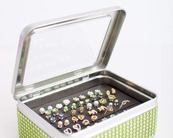 Tin Jewelry Box - Green Dazzled Ribbon - Travel Jewelry Box