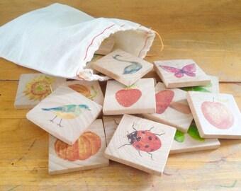 Wooden Hand-Printed Memory Match Game - Nature Inspired Children's Game - Educational Toy - Montessori - Waldorf - Reggio - Preschool Game