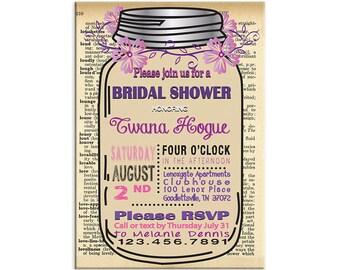 Custom Bridal Shower Invitation  Printed or Digital  Free Shipping