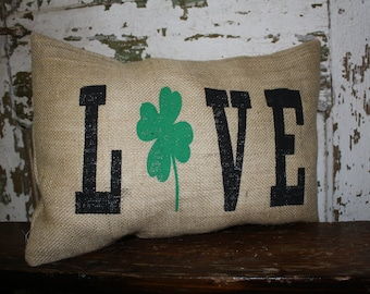 Love Shamrock pillow cover, Throw Pillow, 16x16 or 12x16 Pillow Cover, St Patrick's Day, Shamrock Love