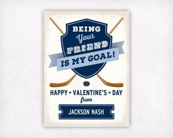 Personalized Printable Kids Valentines, Vintage Hockey Valentines Day Cards, Boys Valentine Cards, Customized Classroom Sports Valentine