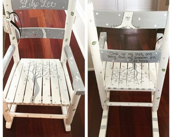 Hand painted Custom child's rocking chair