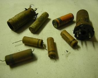 8 old radio parts-whatdoyoucallit-steampunk-salvage-rustic-tubular condenser-capacitor-sprague-