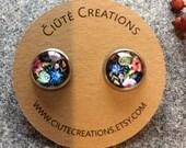 Flower earrings, romantic earrings, Boquet studs, flower studs, MInimal earrings, circle stud earrings, minimalist stud earrings