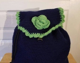 Navy and lime green crocheted backpack