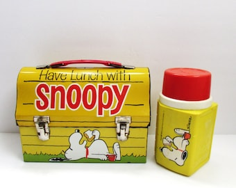 """Snoopy's """"Have Lunch With Snoopy"""" Lunch Box 1968 With Thermos Metal Lunchbox"""