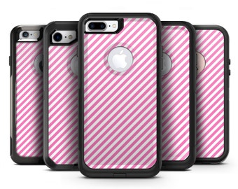 The Pink and White Slanted Stripes - OtterBox Case Skin-Kit for the iPhone, Galaxy & More