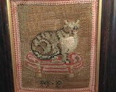 Victorian Cat Needlework Tapestry Under Glass With Heavy Mahogany Frame