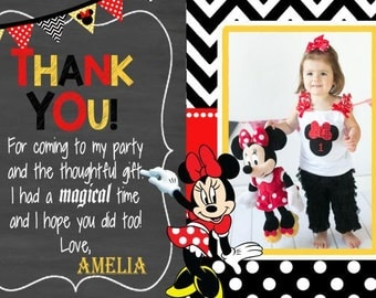 MINNIE MOUSE Thank You Card, Minnie Thank You, Minnie Birthday Card, Birthday Thank You, Girls Thank You, Polka Dot, Chalkboard Minnie Mouse