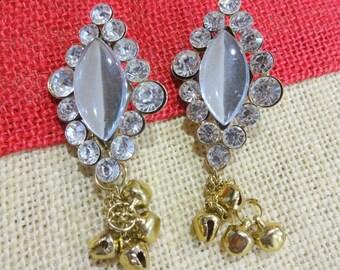 Antique Bronze Metal Embellishment, Wedding Accents, Brooch with Bells, Rhinestone Charm, Bag Embellishment, Craft Supplies
