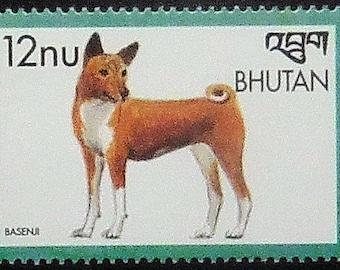 Basenji Dog -Handmade Framed Postage Stamp Art 21112AM