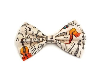 Music Bow • Instrument Hair Bow • Music Teacher Gift • Band Gift • Christmas Gifts • Stocking Stuffer • Violin Gift • Musician Gift