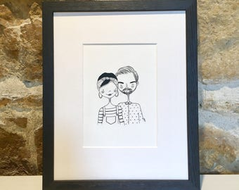 SIMONE & ANDREA - original Illustration with ink of a loving couple