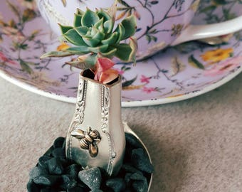 Miniature vase handmade vintage silverplate hollow knife vase