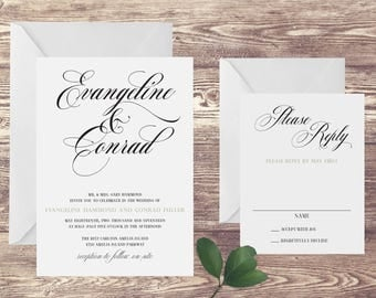 The Amelia Wedding Invitation and RSVP Set, Black and White Wedding Invitation, Elegant Wedding Invite, Black and White Formal Wedding