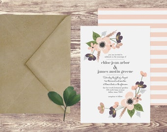The Dallas Wedding Invitation and RSVP Set, Floral Wedding Invitation, Elegant Wedding Invitation, Spring Wedding Invitation, Wedding Invite