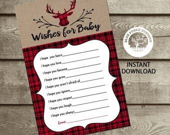 Wishes For Baby Keepsake, INSTANT DOWNLOAD, Red Plaid, Deer, Hunting, Boy Baby Shower Game, Baby Wishes,