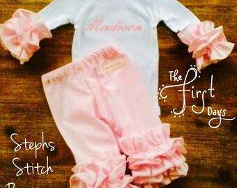 Newborn Ruffled Onesie and Legging Set with Monogram