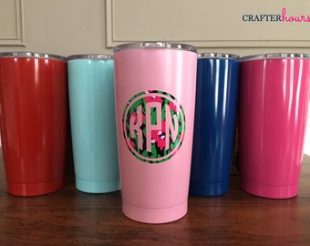 Monogrammed Powdercoated Stay Cold Stainless Steel Tumbler - 20oz. - Your choice of design/color/pattern - choose any design in the shop!
