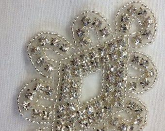 5 Rhinestone Appliqué ,Beaded Appliqué, Crystal Bridal Appliqué ,Clothing Applique