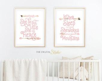 Woodland girl nursery art, Boho Tribal Nursery Art, Woodland Printable, And though she, Baby Shower Gift, Let her sleep for when