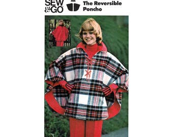 "70's Reversible Poncho, Women's Sewing Pattern Misses Size Medium 12-14 Bust 34-36"" Vintage 1970's Butterick 3825"
