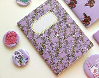 Purple Floral Pattern - Pocket size Notebook - Original Illustration - A6 Notebook - Blank Pages