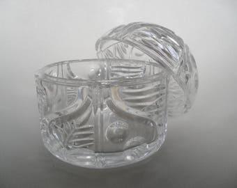 Large czech lead crystal glass box,24 %,glass box,jewelry box,jewelry glass box,glass jar with lid,lidded box,bathroom utensils,trinket box